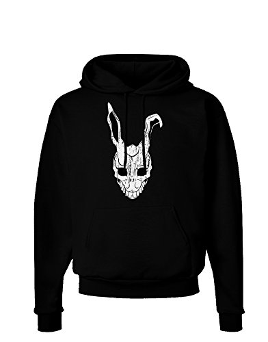 TooLoud Scary Bunny Face White Distressed Dark Hoodie Sweatshirt - Black - -