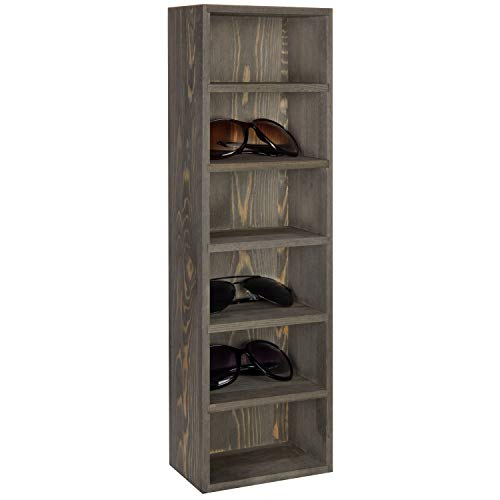 MyGift 6-Pair Wall-Mounted Rustic Gray Wood Sunglasses Display Case ()