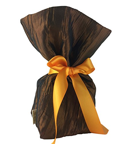 CHC-Beverly Hills WIK Gift Bags for Cookies, Bronze and Orange Satin Ribbon Dark Bronze Couture Art