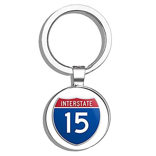 HJ Media Interstate 15 Freeway Sign Shaped (las Vegas san Diego) Metal Round Metal Key Chain Keychain Ring