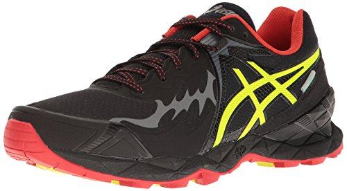 ASICS Men's Gel-FujiEndurance Trail Runner, Black/Safety Yellow/Vermilion, 9 M US For Sale