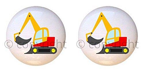 Bulldozer Knob (SET OF 2 KNOBS - Bulldozer - Transportation II by PP - DECORATIVE Glossy CERAMIC Cupboard Cabinet PULLS Dresser Drawer KNOBS)