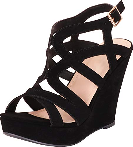 - Cambridge Select Women's Open Toe Crisscross Strappy Cutout Caged Chunky Platform Wedge Sandal,8.5 B(M) US,Black NBPU