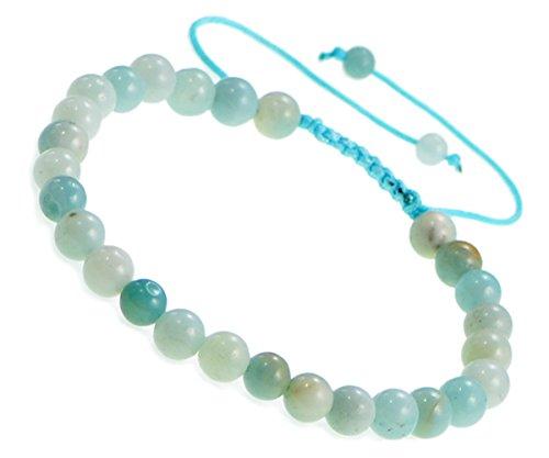 AD Beads Natural 6mm Gemstone Bracelets Healing Power Crystal Macrame Adjustable 7-9 Inch (21 Amazonite)