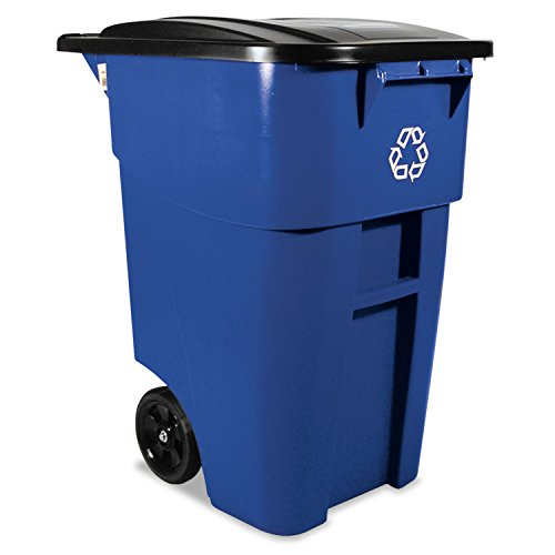 Rubbermaid 9W2773BLU Brute Recycling Rollout Container Square 50gal Blue