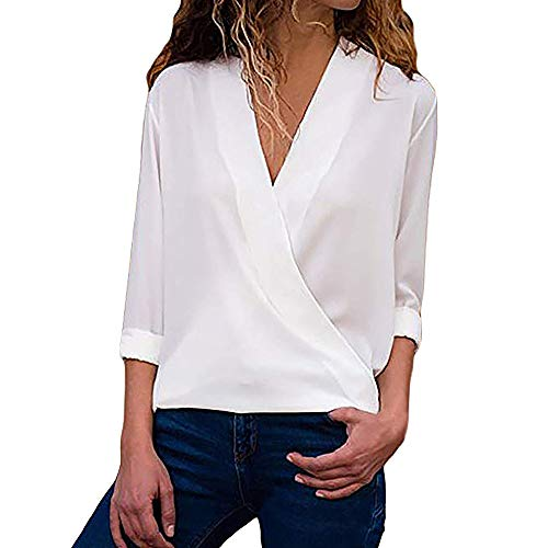 clearance sale!!ZEFOTIM Women Casual Wrap V Neck Roll Up Long Sleeve Solid Blouses Shirt Tops T-Shirt (US-10/CN-L,White)