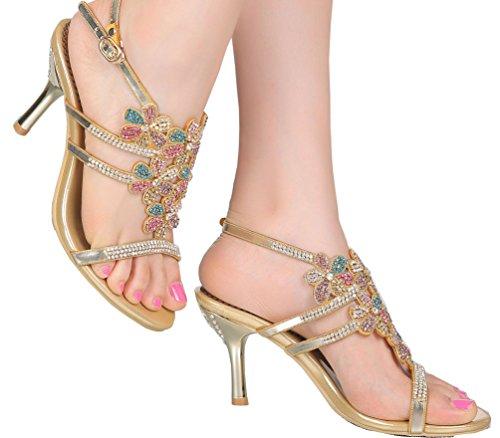 Abby Womens Wedding Party Show Work Comfort Mid Heel Micro-fiber Sandals Gold peWzHG