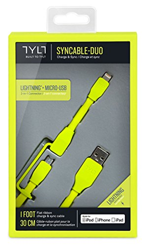 Tylt Syncable-Duo 1' Charge and Sync Cable with Lightning & Micro USB Connector for iPod/iPhone/iPad, Green by Technocel (Image #1)