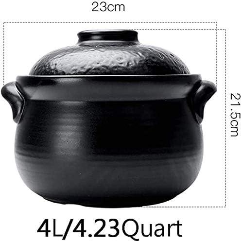 YLCJ Casserole en céramique à Double Couvercle, Batterie de Cuisine Cuisinière Pot Soupe Hot Pot, Marmite en Terre Marmite Jese Cuiseur antiadhésif Noir 4l