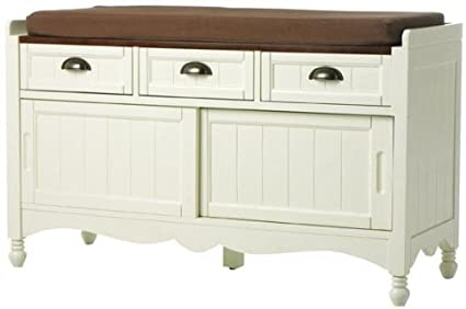 Southport Shoe Storage Bench With Cushion, 25u0026quot;Hx42u0026quot ...