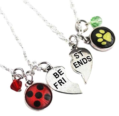 New Horizons Production Miraculous Lady Bug Set of 2 Best Friends Half-Heart Charm Necklace ()