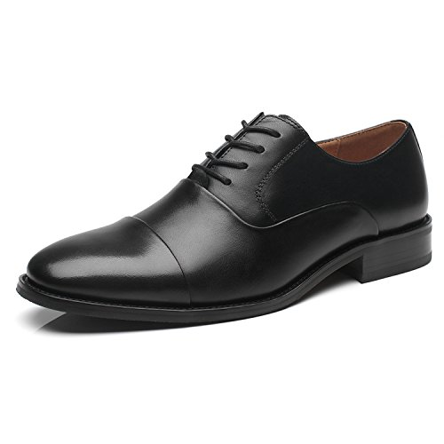 La Milano Men's Leather Lace Up Oxfords Round Captoe Dress Shoes, Regno-1-black, 7 D(M) US
