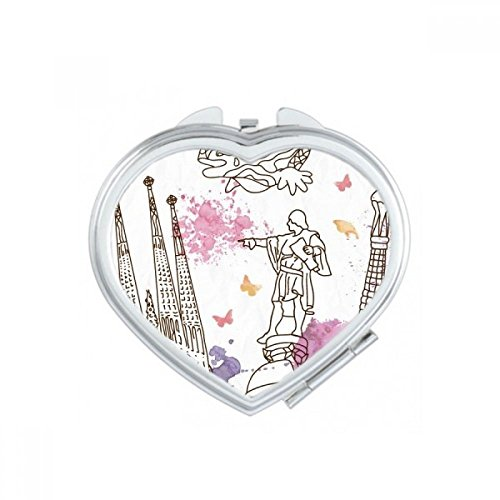 Barcelona Cathedral Hand-painted City Soccer Statue Spain Heart Compact Makeup Pocket Mirror Portable Cute Small Hand Mirrors Gift by DIYthinker