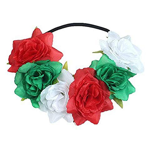 Rose Flower Headdress Garland Hair Band Girls Wedding Party Headband Gress up (Color - -