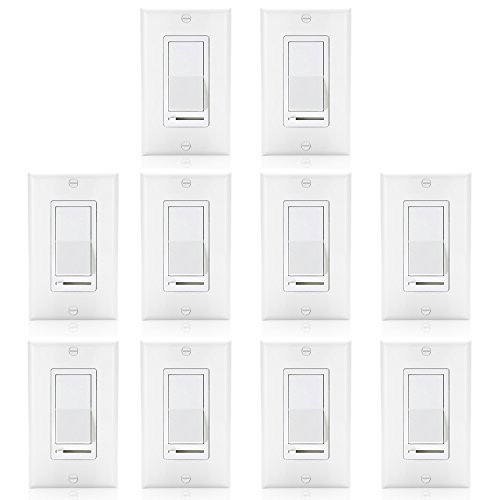 [10 Pack] BESTTEN Dimmer Light Switch, Universal Lighting Control, Single Pole or 3 Way, Compatible with LED Dimmable Lamp, CFL, Incandescent, Halogen Bulb, Decorative Wall Plate Included, White - Decorative Pole Lighting