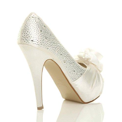 Bianco Donna Sporco Scarpe Fiore Ajvani Tacco Col qI0tP8