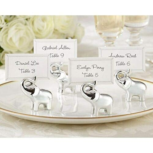 Set of 4 Lucky Elephant Place Card Holders Silver Wedding Favors Place Cards Party Supplies tokocanna ()