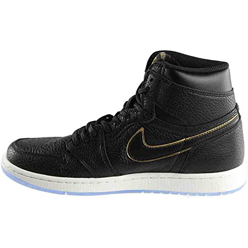 Nike Men's Air Jordan 1 Retro High Og Gymnastics Shoes, Black Black, Metallic Gold-summit White