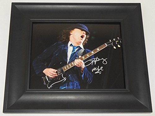 AC/DC Black Ice Angus Young Signed Autographed 8x10 Glossy Photo Gallery Framed Loa