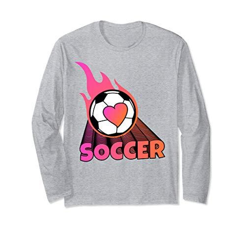 Cute Flaming Pink Soccer Ball Long Sleeve - T-shirt Soccer Ball Flaming