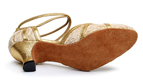 TDA Womens Mid Heel Round Toe Lace Synthetic Tango Ballroom Salsa Latin Dance Wedding Shoes 6cm Heel Gold Z8cAWVKSG