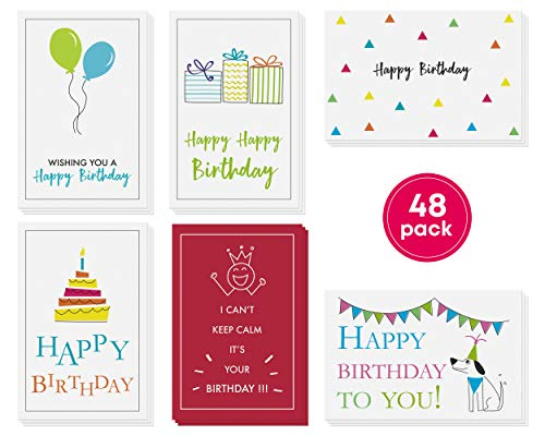 48-Pack Bulk Happy Birthday Cards Box Set – Assorted Birthday Cards in 6 Simple, Fun Designs For Women, Men and Kids. Left Blank Inside For Your Own Personalized B'day Greetings. -