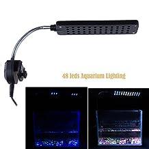 LEMONBEST® 3W Flexible Fish Tank Lamp 48 LED White Blue Aquarium Light 3 Mode Downlight AC100-240V