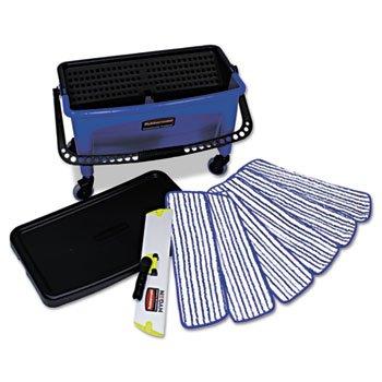 Microfiber Floor Finishing System, 27gal, Blue/Black/White