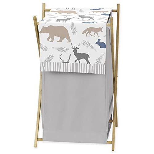 Sweet Jojo Designs Baby Children Kids Clothes Laundry Hamper for Blue Grey and White Woodland Animals Bedding Set