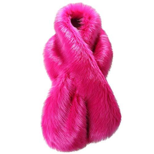 - Caracilia Winter Fashion Faux Fox Fur Collar Scarf Collar Women Rose 120CA97