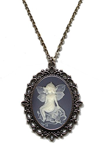 Victorian Vault Fairy Angel Cameo Steampunk Gothic Pendant Necklace on Chain ()