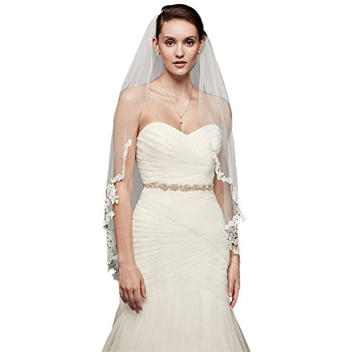 Corded Lace Edge Fingertip Veil Style V402, White by David's Bridal