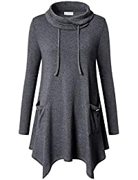 Women's Long Sleeve Cowl Neck Asymmetrical Hem Tunic Tops with Pockets