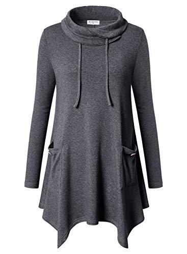 Bulotus Women's Long Sleeve Turtleneck Winter Long Length Tunic Tops Wear with Leggings,Dark Grey,Medium