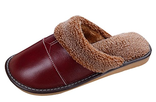 Cozy Red Fleece Liveinu Wine On PU Slippers Leather Unisex Plush House Slip HwT5Sq