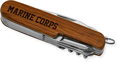 (Multi-Purpose Tool Pocket Knife (Rosewood, KMP) Laser Engraved MARINE CORPS)