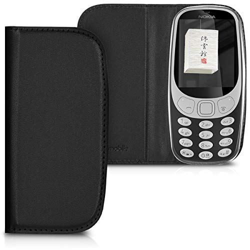 kwmobile Flip Case for Nokia 3310 3G 2017 / 4G 2018 - Smooth PU Leather Slim Folio Cover Protective Phone Holder - Black