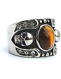 Men's Stainless Steel Finger Rings Skull Bone Gothic Vintage Biker Tiger Eyes Silver Black 1.6cm