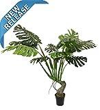 AMERIQUE AMZ5660-1 Unique & Gorgeous Tropical Monstera Palm Artificial Tree Silk Plant with Nursery Plastic Pot, 5.7', Green