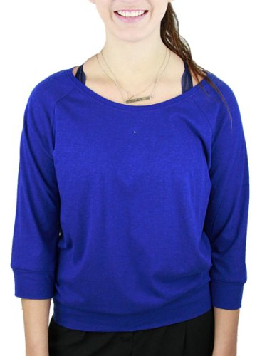 YogaColors Crystal 3/4 Sleeve Pullover Lightweight Boxy Raglan Up to Size 4XL (XX-Large, Lapis) (Boxy Pullover 20)