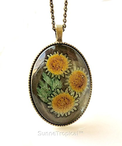 Sunflower Real Pressed Flower Jewelry Vintage OVAL Pendant Necklace Antique Bronze Finish
