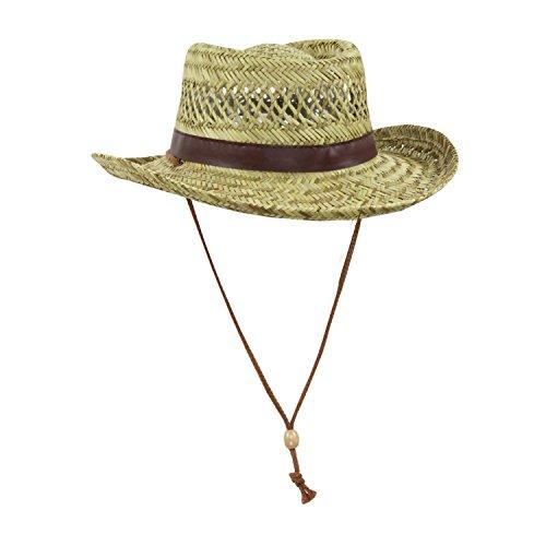 - Mens Natural Straw Flat Top Gambler Sun Hat (Brown Trim)
