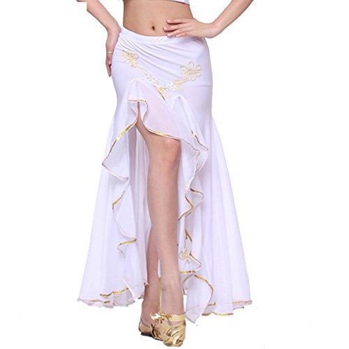 Belly Dance Embroidery Dual Split Skirt Dancing Dress 9 Colors Costume white