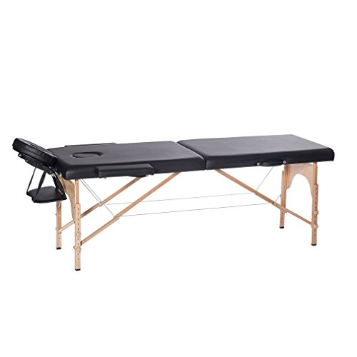 3 Fold Beech massage Table Wood Salon & Spa Facial Massage Bed With Carrying Case (2 fold, Black)