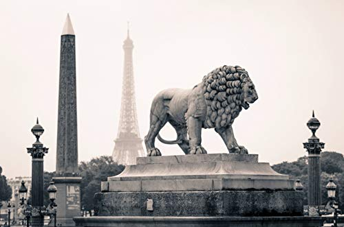 Paris Lion Statue Black And White Edible Cake Topper Image ABPID25017 - 1/4 sheet