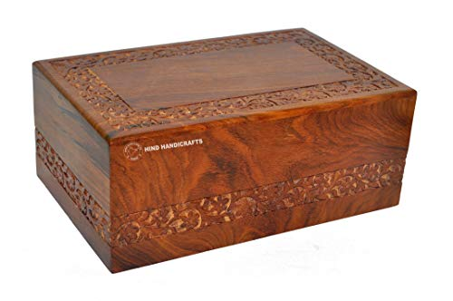 "Hind Handicrafts Beautifully Handmade & Handcrafted Rosewood Borders Engraving Wooden Cremation Box/Urns for Human Ashes Adult, Funeral Urn Box (Large : 9"" x 5.5"" x 4.5"" - 180lbs or 72kg)"