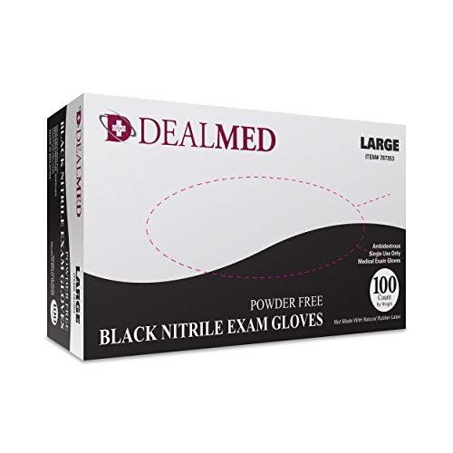 Dealmed Brand Nitrile Medical Exam Gloves, Disposable, Latex Free, Black, 100 Count, Size Large