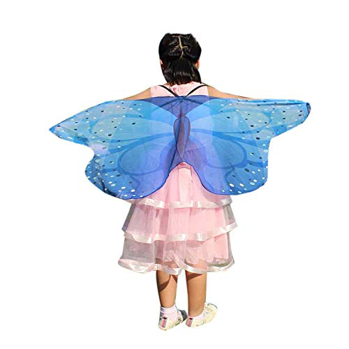 vermers Child Kids Costume Shawl Boys Girls Bohemian Butterfly Print Shawl Pashmina Costume Accessory(Blue) -
