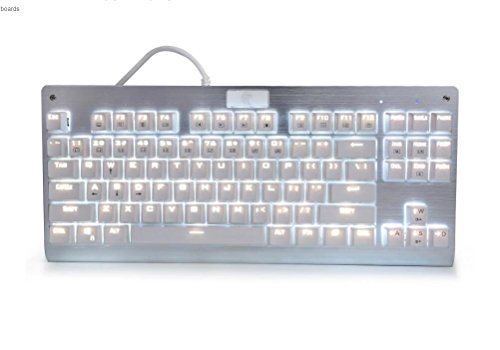 Mechanical Gaming Keyboard, E-Element Z-77 Blue Switches, White LED Backlit, Waterproof, Tenkeyless 87 Keys Anti-Ghosting for Mac PC, White