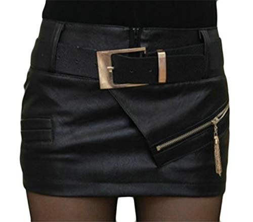 Women Women's High Waist Faux-Leather Belted Bodycon Party Mini Skirts